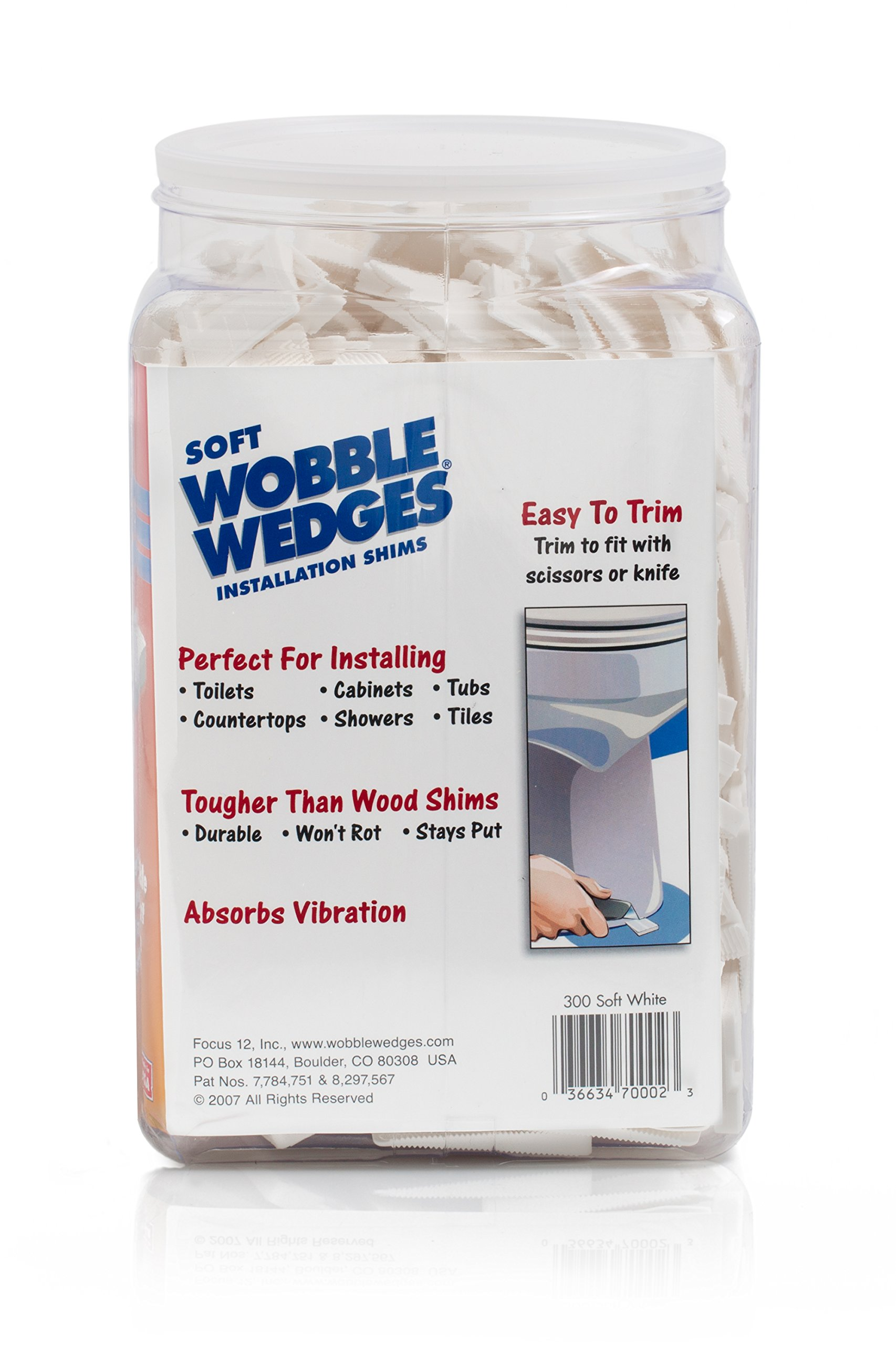 Wobble Wedges Multi-Purpose Shims-Soft White 300 ea -Easy Trim -Protect Delicate Surfaces -Level Household Furniture and Plumbing Fixtures -Stop rattling pipes -Use as Clamping Pad on Angled Surface by WOBBLE WEDGES (Image #2)