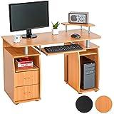 TecTake Scrivania porta PC computer tavolo ufficio con ripiano tastiera e 2 cassetti - faggio -