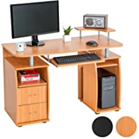 TecTake Scrivania Porta PC Computer Tavolo Ufficio con ripiano Tastiera e 2 cassetti - Disponibile in Diversi Colori -