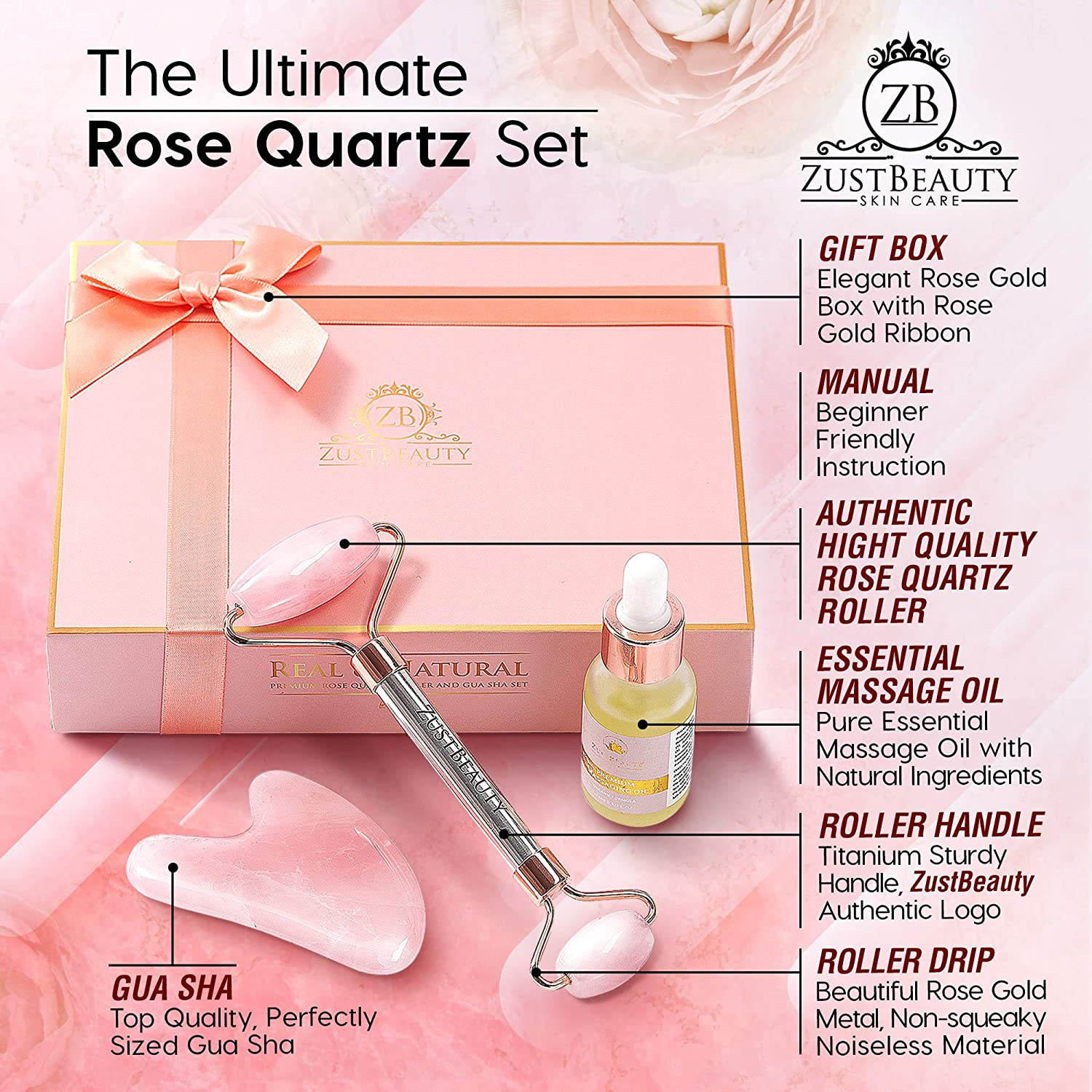 Rose Quartz Roller Set Rose Quartz Face Jade Roller, Rose Quartz Gua Sha, Essential Massage Oil Serum Rose Gold Roller Tip Boost Circulation, Collagen Production Boxed with Rose Gold Ribbon Gift