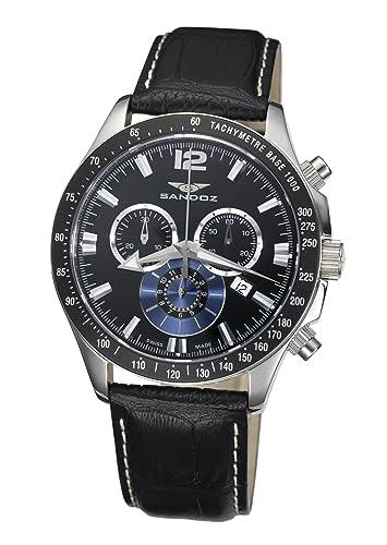 Sandoz 72579-05 - Reloj de Caballero de Cuarzo, Correa de Piel Color Negro: Amazon.es: Relojes