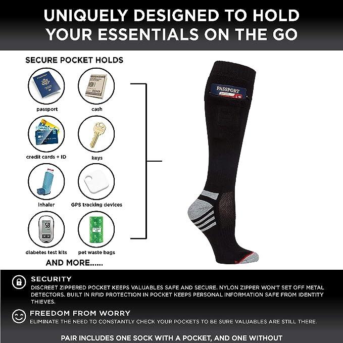 Pocket Socks Calcetines de seguridad de viaje de las mujeres con ...