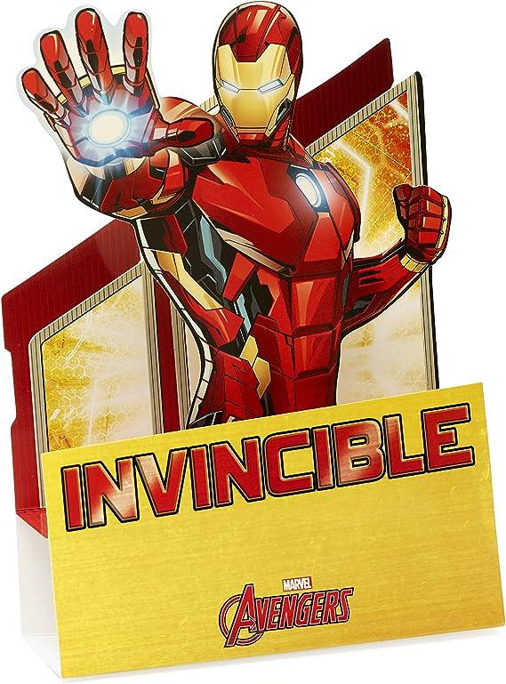 Tarjeta de cumpleaños desplegable con diseño de Iron Man, tarjeta ...