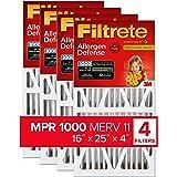Filtrete 16x25x4, AC Furnace Air Filter, MPR 1000 DP, Micro Allergen Defense Deep Pleat, 4-Pack (actual dimensions 15.88 x 24
