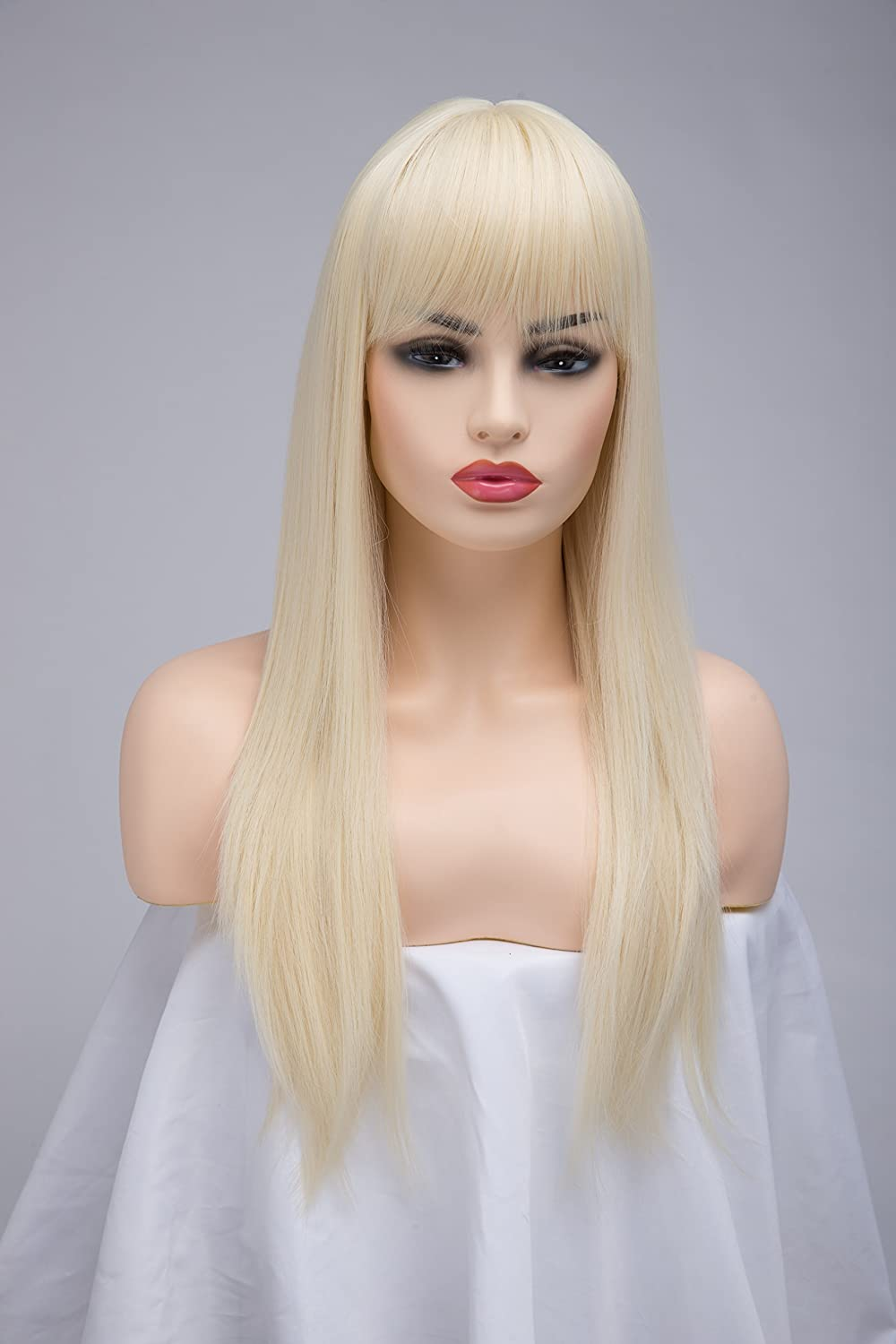BESTUNG Long Straight Ash Blonde Wigs for Women Ladies Synthetic Full Hair Natural Light Honey Strawberry Gold Wig with Bangs for Cosplay Costume or Daily Life