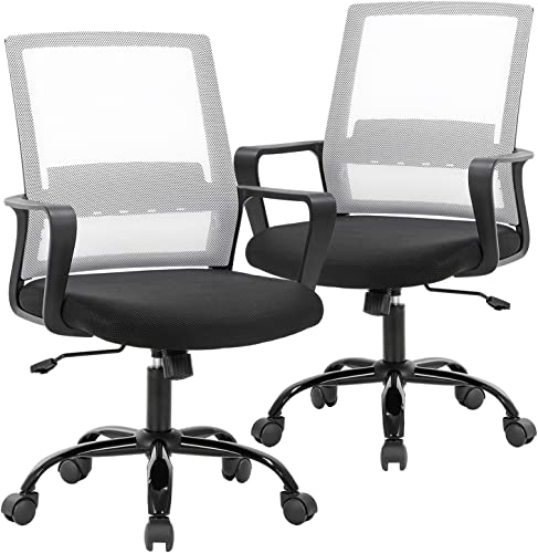 Office Chair Desk Chair Computer Chair Swivel Rolling Executive Lumbar Support Task Mesh Chair Metal Base