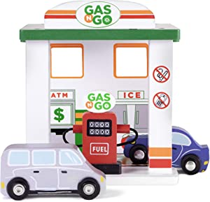 Imagination Generation Gas 'n Go Service Station | Wooden Drive-Thru Fuel Pump Children's Toy Playset with 2 Cars