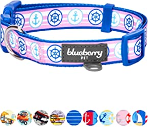 Blueberry Pet 9 Patterns Bon Voyage Collection Designer Dog Collar with Nautical Anchors & 8 Patterns Personalized Collars, Matching Leash & Harness Available Separately
