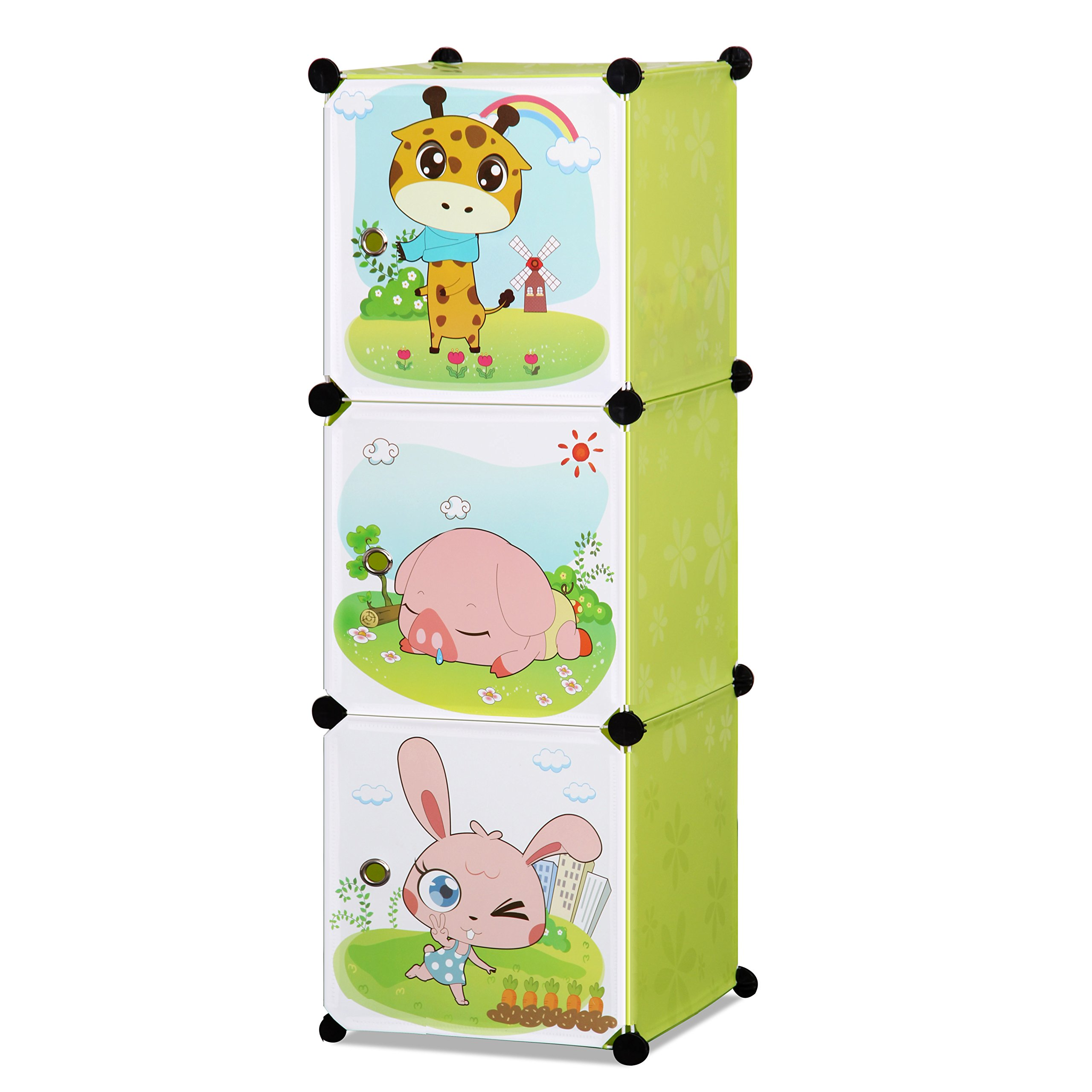 ALEKO SCAB02GR Whimsical Children's 3 Level Collapsible Multipurpose Animal Themed Storage Organizer Cubes in Green by ALEKO