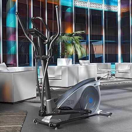 ION Fitness SHARP FI230 Bicicleta eliptica.Volante de inercia 8kg. Freno magnetico.Zancada de 40cm. Reposapies XXL.Monitor LCD: Amazon.es: Deportes y aire ...