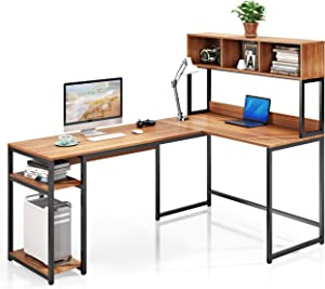 VIPEK L-Shaped Desk with Hutch, 69