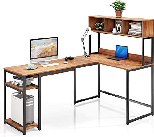 VIPEK L-Shaped Desk with Hutch Corner Computer Desk Workstation Study Writing Desk Gaming Table with Storage Bookshelf 3 Cube Bookcase Open Display Shelves Space Saving for Home Office Suntalam Walnut