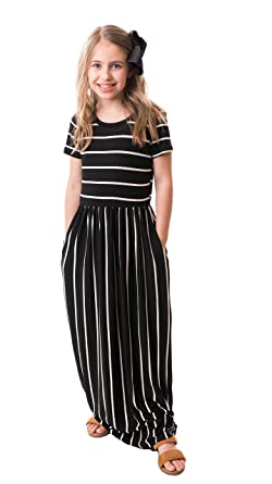 87fb5162274 Chrome Classic Girls Brooklyn Striped Maxi Dress Made in The USA (Black,  Medium)