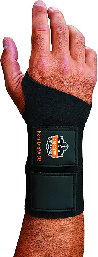 Ergodyne ProFlex 675 Ambidextrous Double-Strap Wrist Support Black Medium