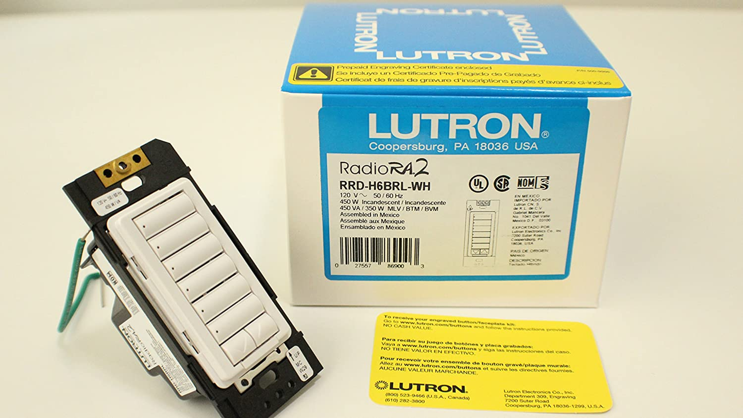 Amazon.com : Lutron RRD-H6BRL-WH Radiora2 Neutral Wire Dimmer Hybrid Keypad 120 Volt AC White : Electrical Switches : Electronics