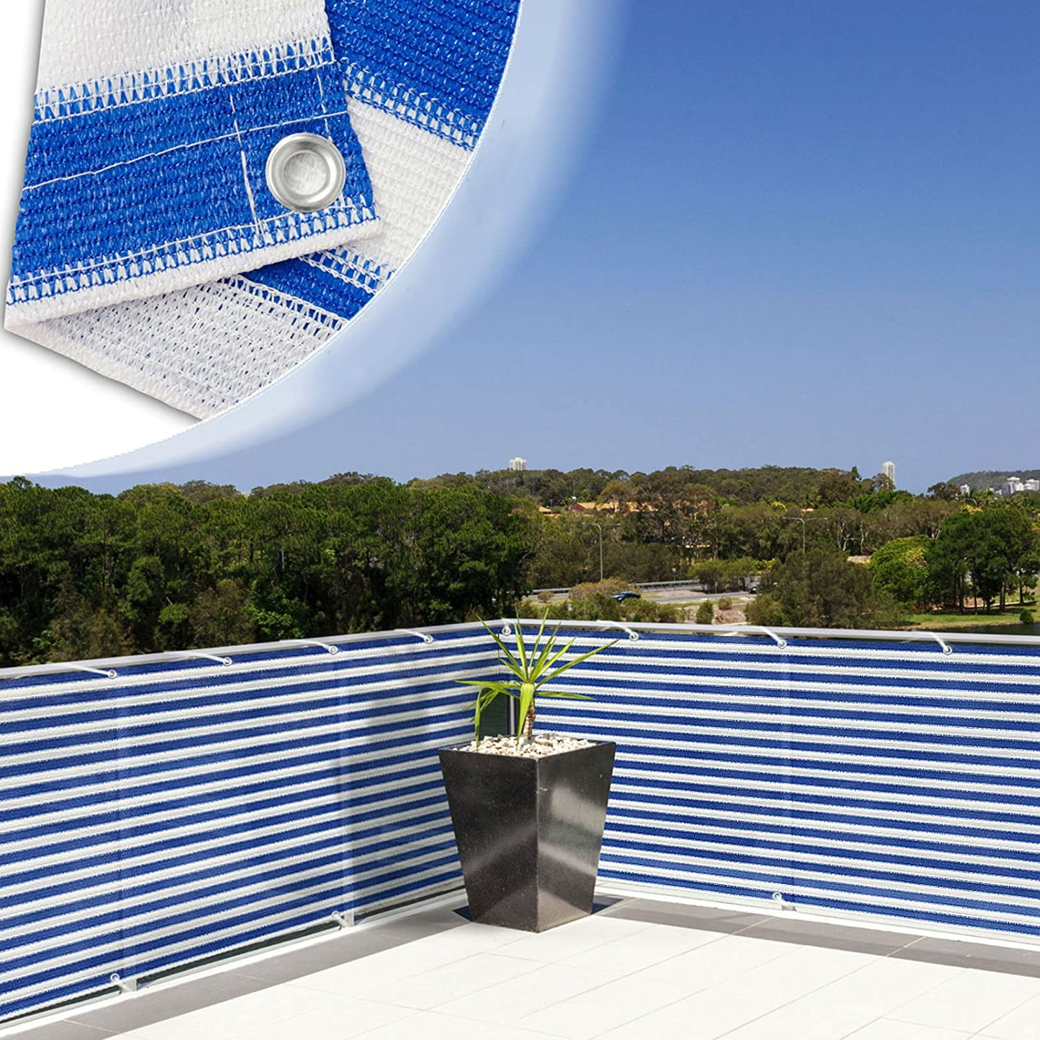 casa pura Balcony Privacy Screening Cover Screen Cover for UV Protection – 3 x 16 4 – Blue White Multiple Colors Available