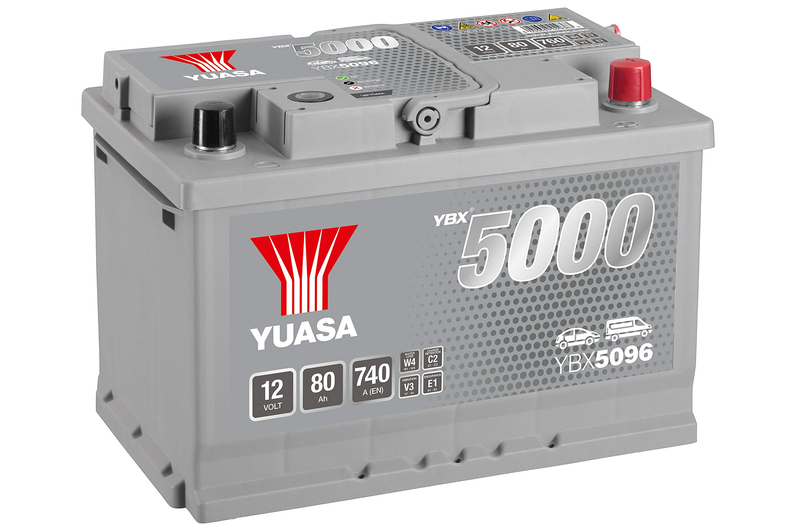 Yuasa YBX5096 12V 80Ah 740A Silver High Performance Battery