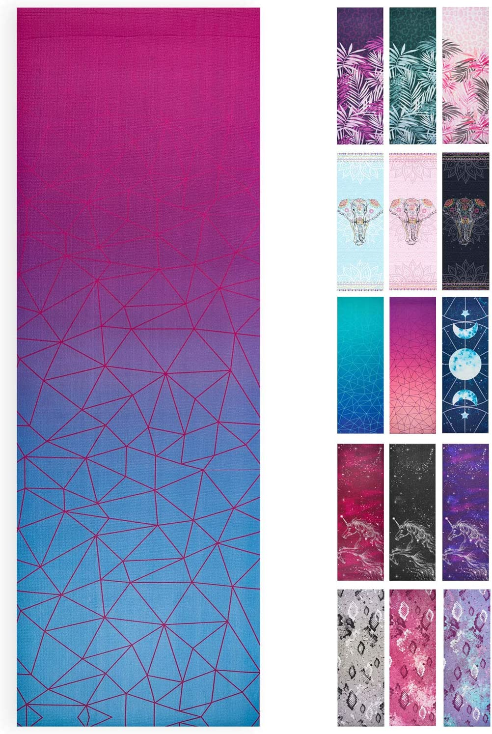 Lions Printed Yoga Mats Home 183 x61cm Gym Fitness Workout Ideal for Exercise Pilates Camping Pvc 6mm Thick Dual Layer Mat with Carry Straps