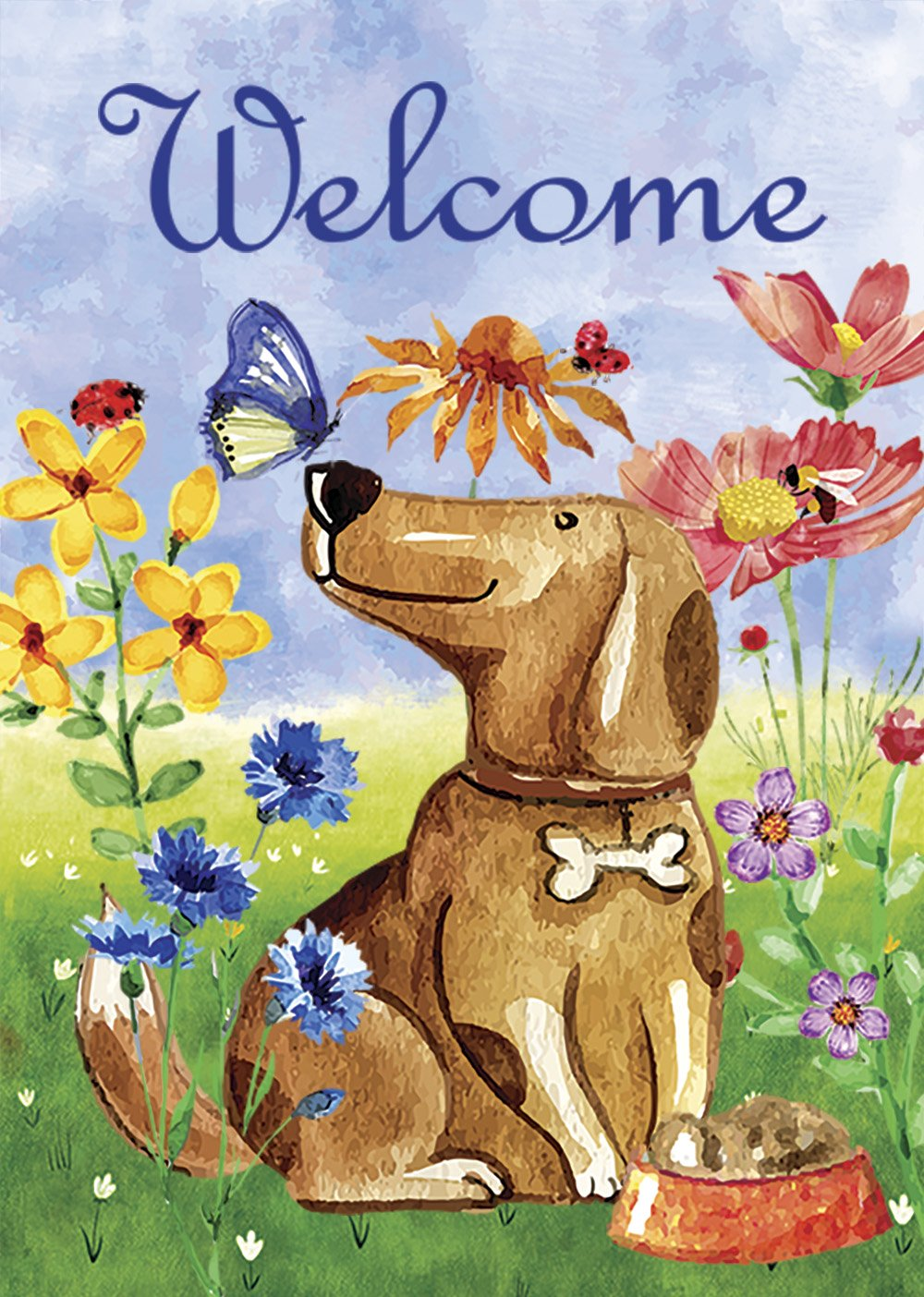 Morigins Welcome Dog Decorative Cute Puppy Spring Summer Double Sided House Flag 28x40 Inch