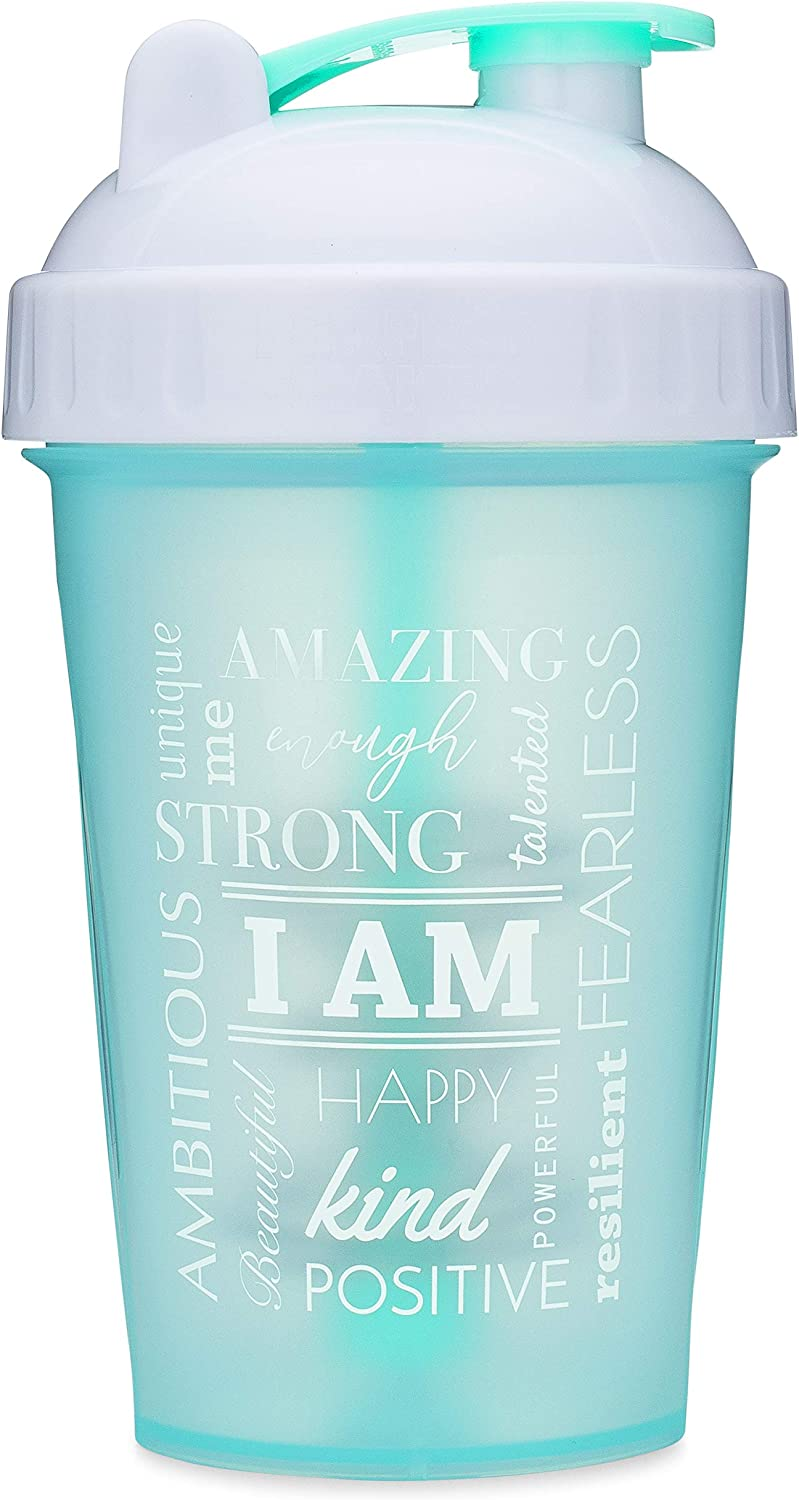 Motivational Quotes on Performa Perfect Shaker Bottle, 20 Ounce Classic Protein Shaker Bottle, Dishwasher Safe, Leak Proof, Perfect Gym Fitness Gift (I Am - Mint - 20oz)