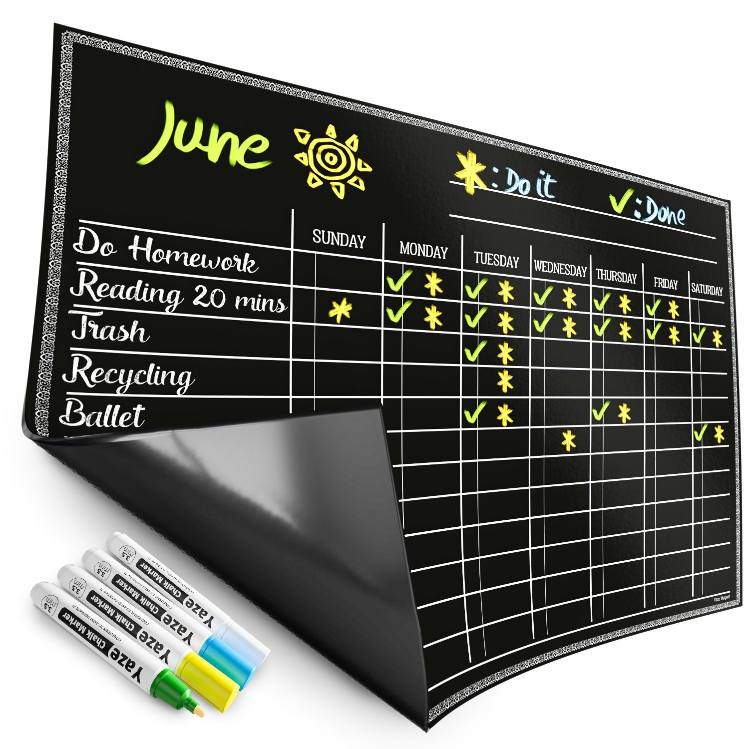 Magnetic Chore Chart for Kids - 4 Chalk Markers - Children's Dry Erase Chalkboard Calendar for Multiple Household Chores & Responsibilities - Easy-to-Clean Reusable Family Refrigerator Weekly Planner