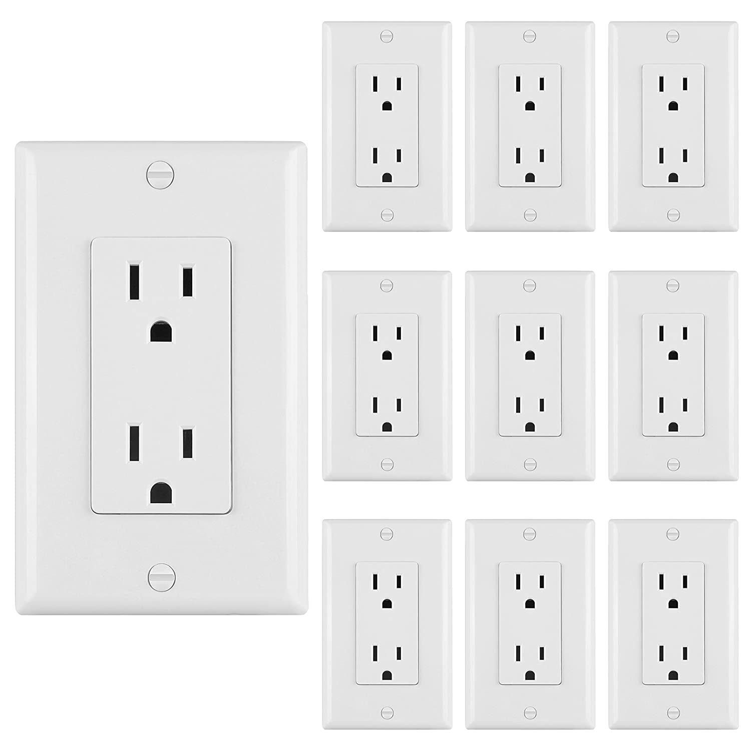 [10 Pack] BESTTEN 15A Standard Decor Outlets with Wall Plates, Decorative Duplex Electrical Receptacle and Covers, Residential and Commerical Grade, Self-Grounding, UL Listed, White