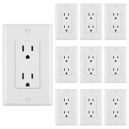 10 Pack Bestten 15a Standard Decor Outlets With Wall Plates