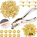 100 Pieces 3/4 Inch Brass Paper Fasteners Paper Brads, and 300 Pieces Plated Brass Washers with Hole Punch (Gold)