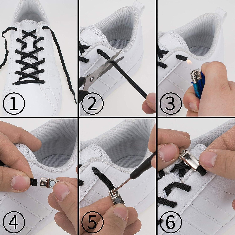 Lacci in silicone Set di lacci senza rilegatura nastri per scarpe Lacci di gomma per tutte le scarpe Supto Lacci elastici in silicone con chiusura magnetica in metallo