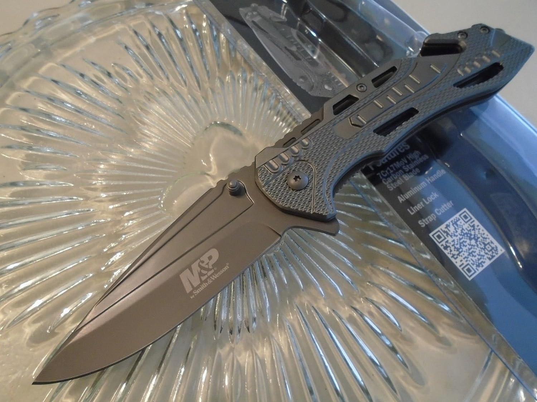 フォールディングナイフ/折りたたみナイフ/アウトドア/キャンプ/フィッシングナイフ/サバイバルゲームSmith & Wesson Military Police Flipper Pocket Knife Gray SWMP10GCP 7Cr17MoV New B078V9R576