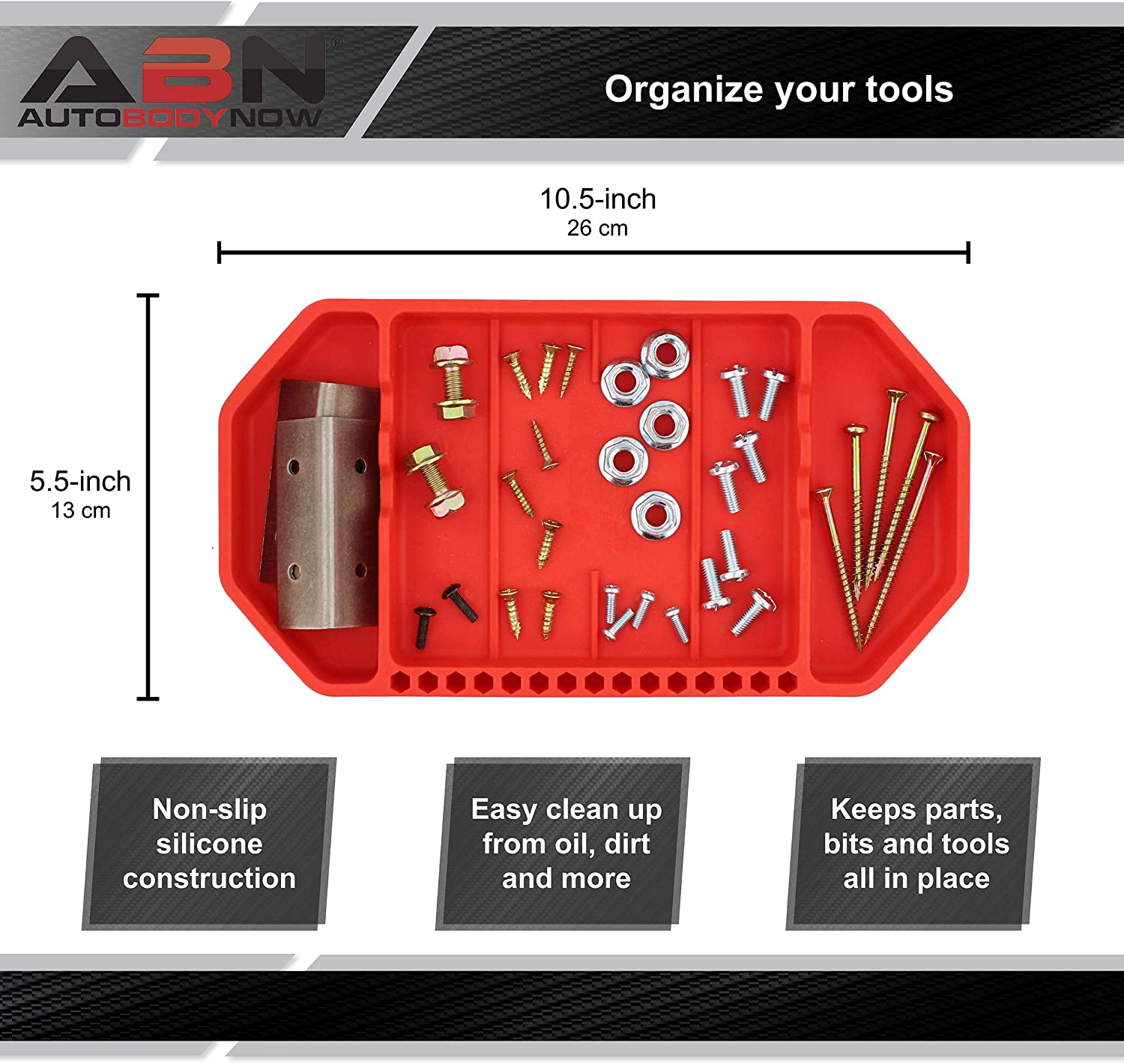 10.5in x 5.5in ABN Flexible Tool Tray Non Slip Tool Holder Tray for Organizing Parts Silicone Rubber Tools Organizer