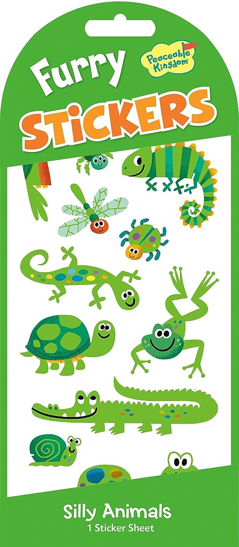 Peaceable Kingdom Furry Sticker Pack Green Animals Fuzzy Stickers Mindware