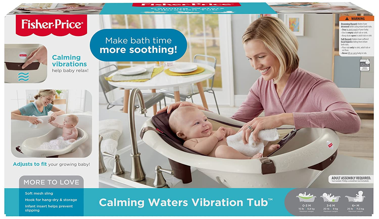 Amazon.com : Fisher-Price Calming Waters Vibration Bathing Tub ...