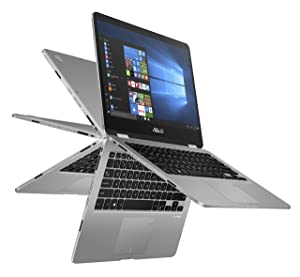 "ASUS Vivobook Flip 14 Thin and Light 2-in-1 Laptop, 14"" HD Touchscreen, Intel Quad-Core Pentium N5000 Processor, 4GB DDR4, 128GB eMMC Storage, Windows 10, TP401MA-AB21T"