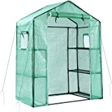 Ohuhu Greenhouse for Outdoors with Observation Windows New Version, Small Walk-in 3 Tiers 6 Shelves Stands Plant Green House