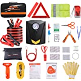 Car Roadside Emergency Kit with Jumper Cables, Auto Vehicle Safety Road Side Assistance Kits, Winter Car Kit for Women and Me