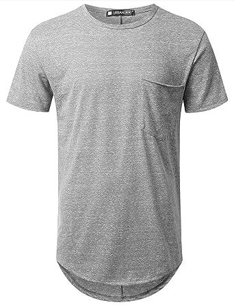 URBANCREWS Mens Hipster Hip Hop Melange Longline Pocket T-Shirt Gray, S