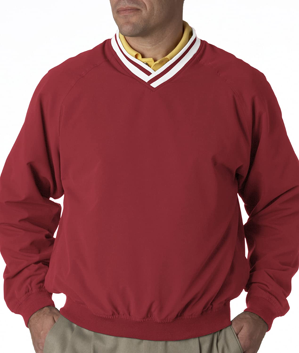 UltraClub Long-Sleeve Microfiber Cross-Over V-Neck Windshirt 8926 4XL Red//White