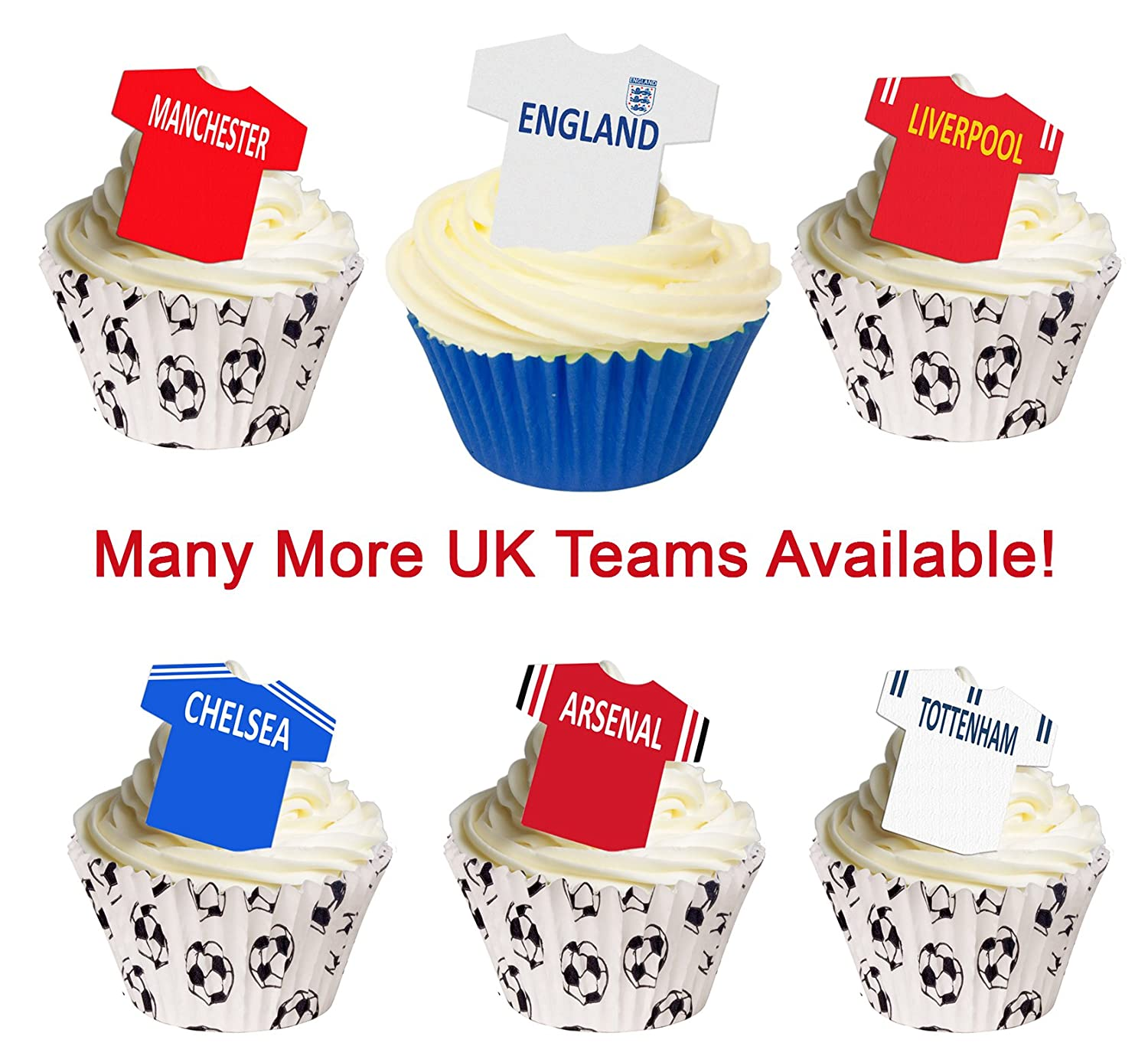 12 PRE CUT EDIBLE RICE WAFER PAPER LIVERPOOL FOOTBALL SHIRT CUPCAKE PARTY TOPPER