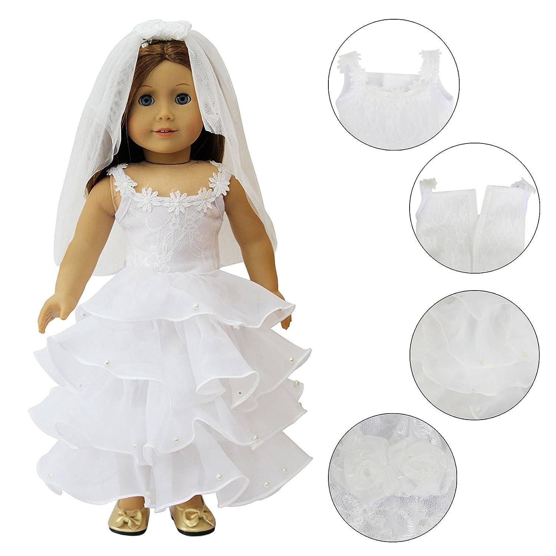 Madame Alexander ZITA ELEMENT/® 1PZ Bianco Matrimonio Abito da Sposa Vestiti Nuziale Con Velo Per 18 Pollici American Girl Our Generation Dolls Clothes