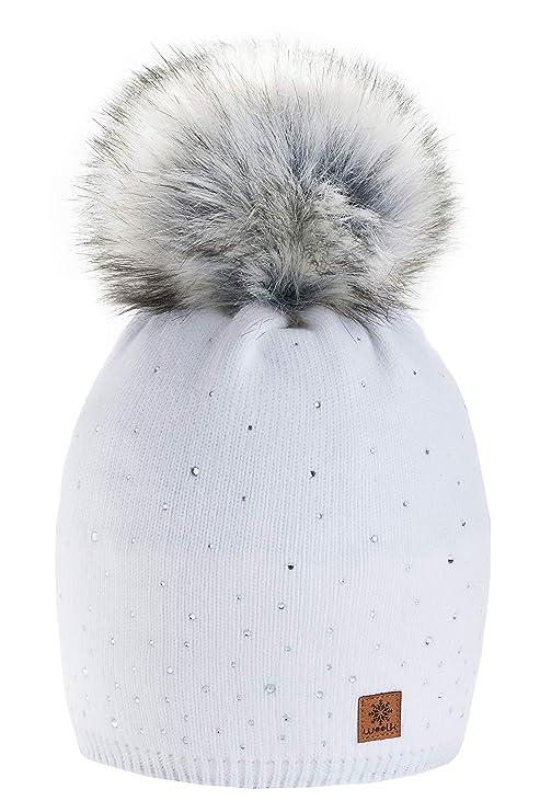 c019d6208869e Morefaz - Gorro de invierno de forro polar para mujer con cristales y  pompón multicolor blanco