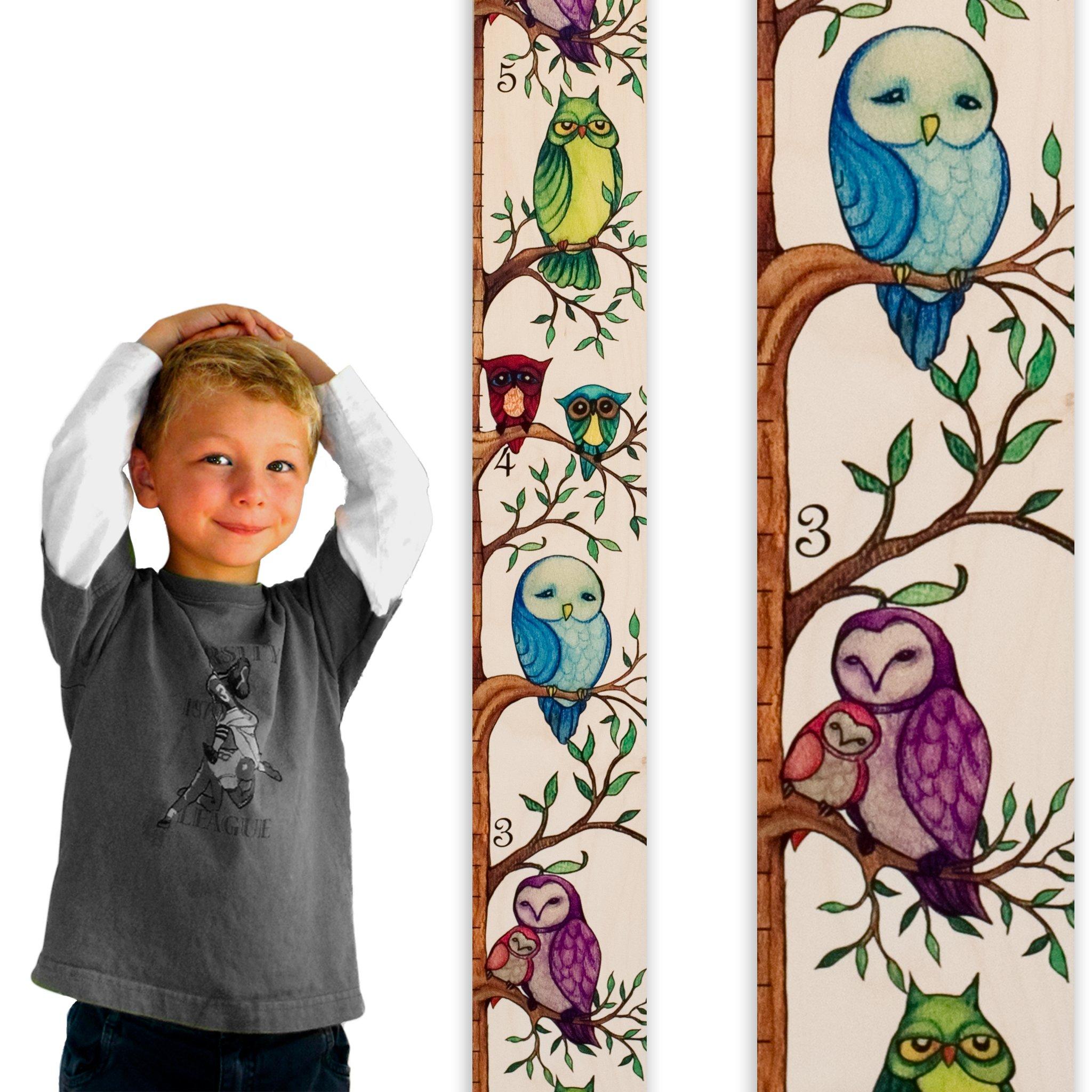 Growth Chart Art | Owl Growth Chart | Wooden Height Chart for Measuring Kids, Boys & Girls | Owls