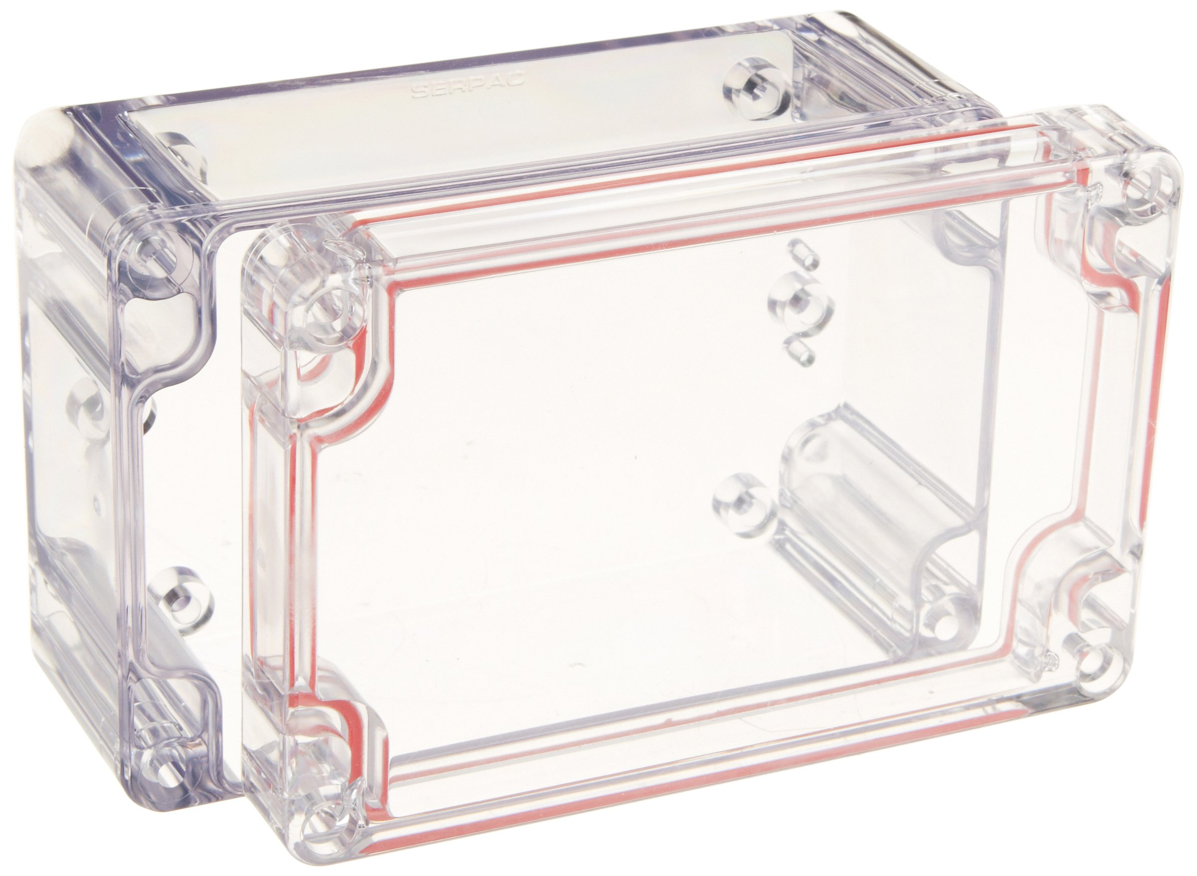 Serpac RB53-1TC1BC Polycarbonate Plastic Enclosure, 4.72'' Length x 3-5/32'' Width x 2-11/64'' Height, Clear Top/Bottom
