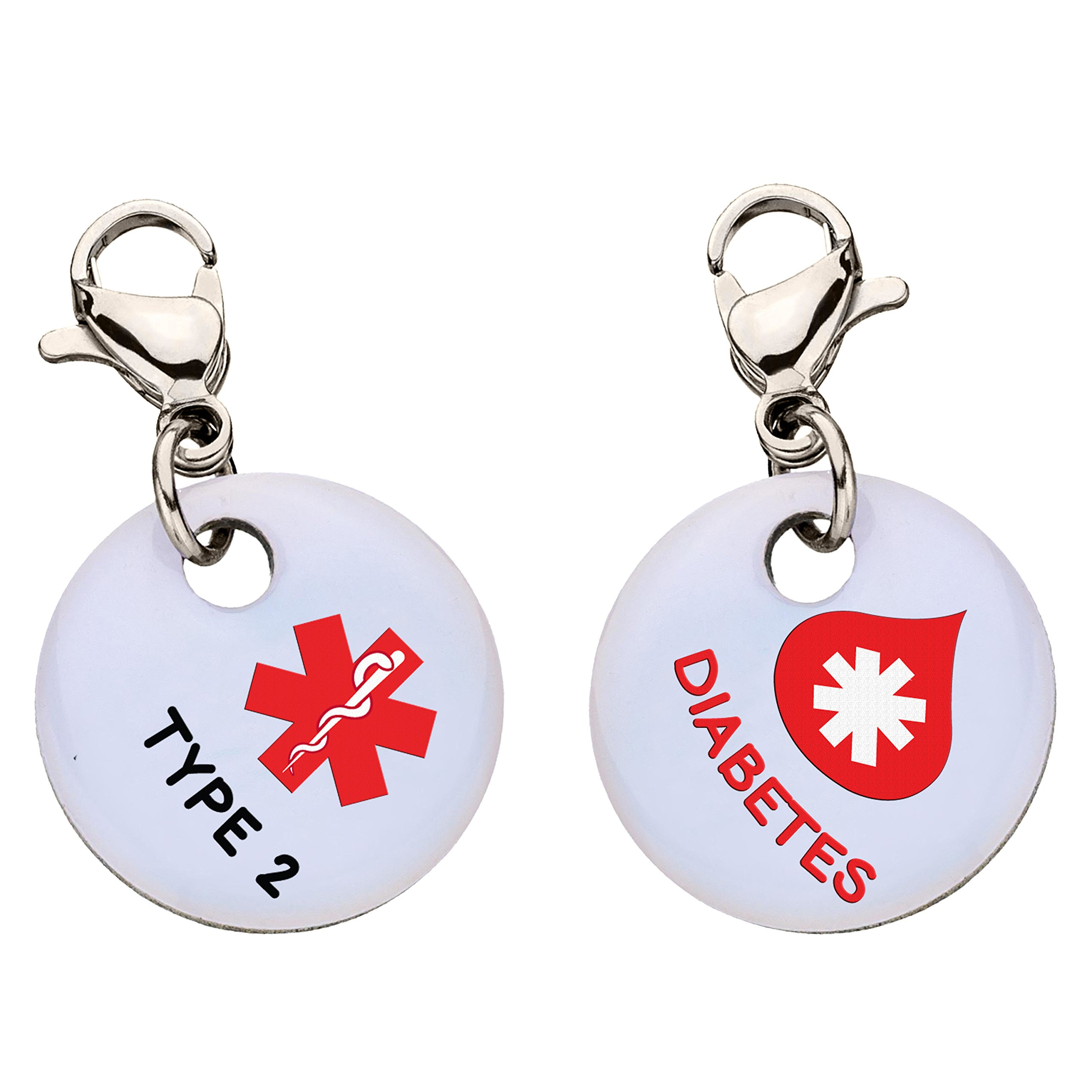Diabetes Type 2 Red Blood Drop Snap-On Bracelet Charm-Parent (Stainless Steel),80 by My ID Square (Image #1)