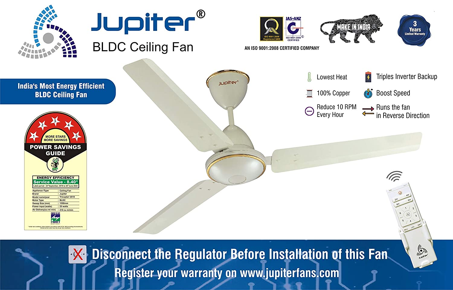 5 Star Energy Saver Ceiling Fan with Remote Controlled