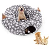 LUCKITTY Cat Dog Tunnel Bed with Cushion Tube Toys Oxford Cloth Large Diameter Longer Crinkle Collapsible 3 Way for Large Cat