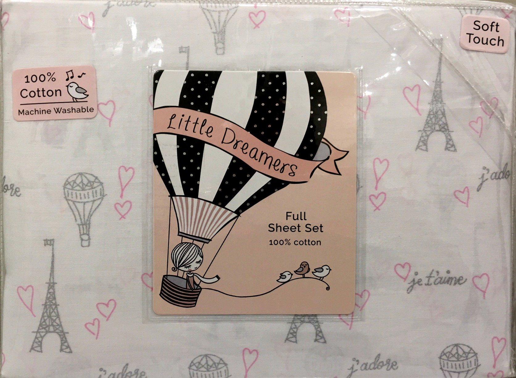 Little Dreamers Parisian Themed Eiffel Tower GIRLS 4-Pc Full Cotton Sheet Set