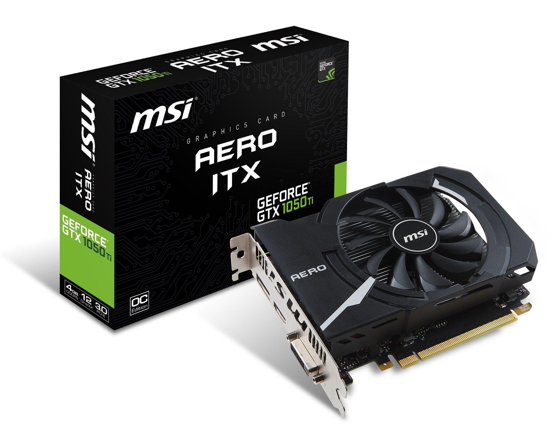 MSI GTX 1050 TI AERO ITX 4G OC Gaming GeForce GTX 1050 Ti 4GB GDDR5 DirectX 12 ITX Graphics Card