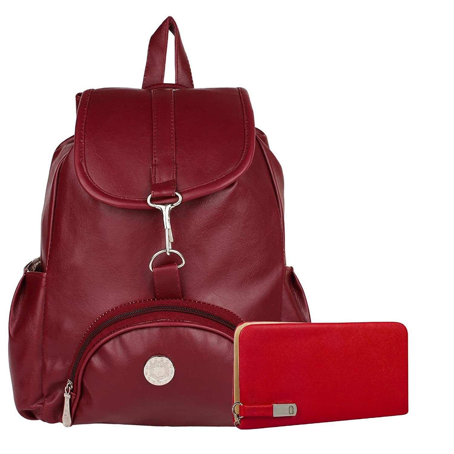 0c524fbcd Buy Alice Women's and girls Stylish Handbag Backpack and Wallet Clutch  Combo(Apple maroon) Online at Low Prices in India - Amazon.in