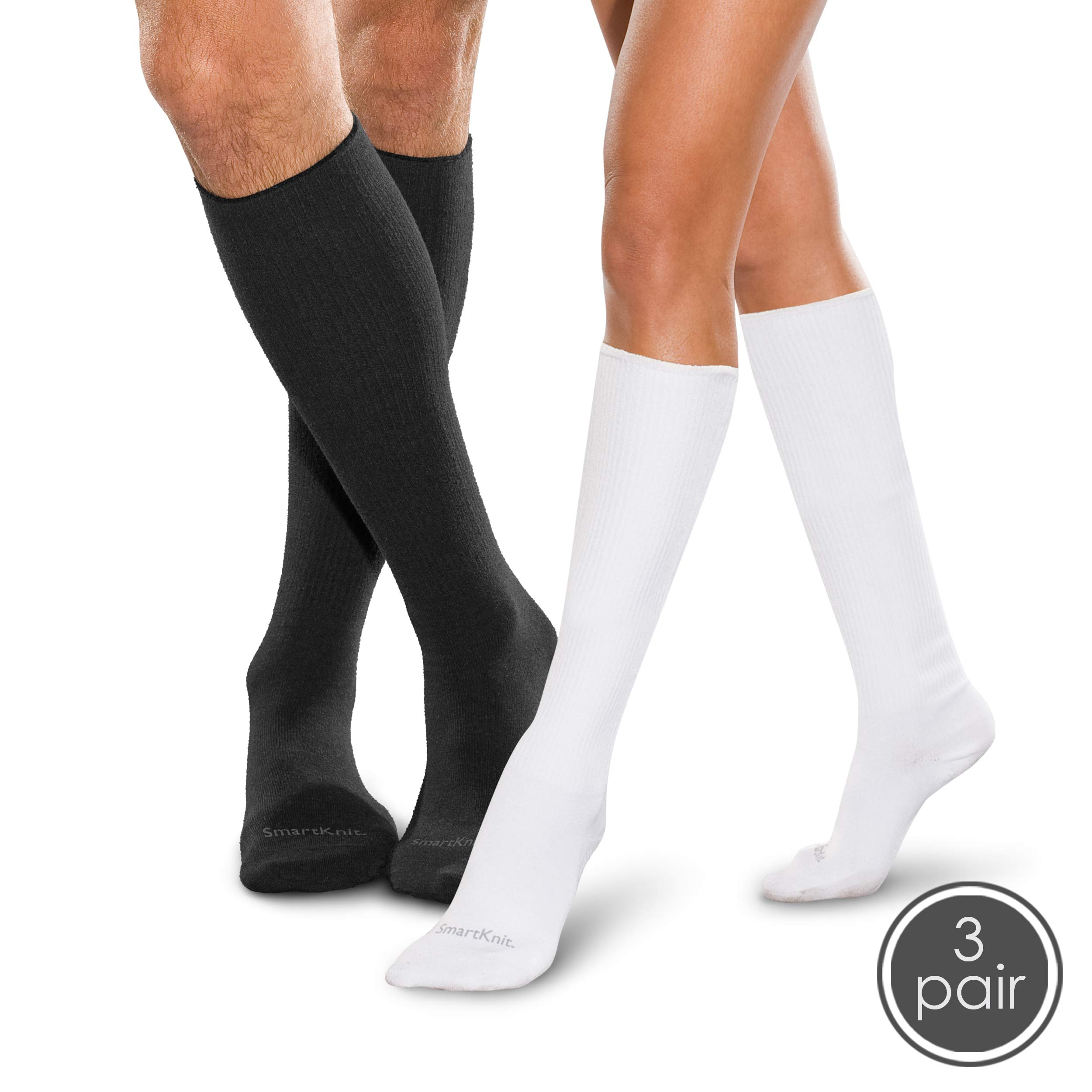 SmartKnit Seamless Diabetic Over-The-Calf Socks- 3 Pack - X - Large - Black White & White by SmartKnit